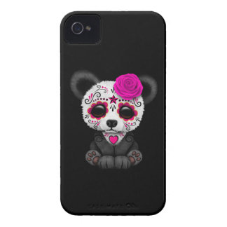 Pink Day of the Dead Sugar Skull Panda on Black iPhone 4 Case-Mate Cases