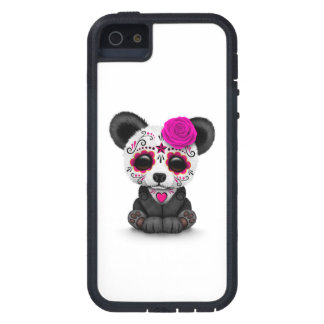 Pink Day of the Dead Sugar Skull Panda on White iPhone 5 Case