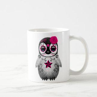 Pink Day of the Dead Sugar Skull Penguin Coffee Mug