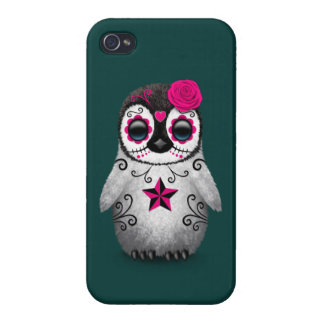 Pink Day of the Dead Sugar Skull Penguin Teal iPhone 4/4S Case