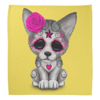 Pink Day of the Dead Wolf Cub Bandana