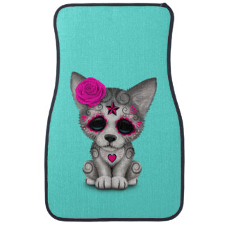 Pink Day of the Dead Wolf Cub Car Mat