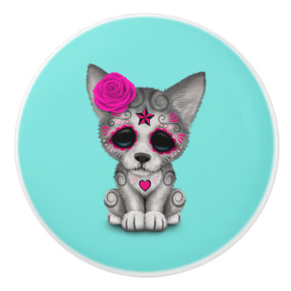 Pink Day of the Dead Wolf Cub Ceramic Knob