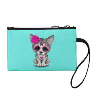 Pink Day of the Dead Wolf Cub Coin Purse