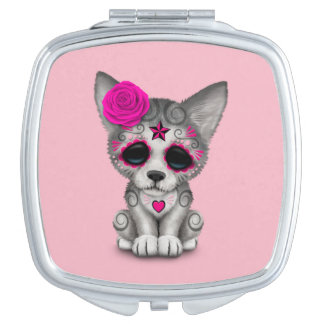 Pink Day of the Dead Wolf Cub Compact Mirror
