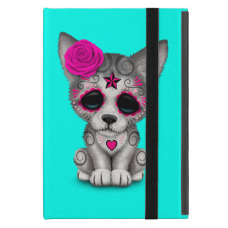 Pink Day of the Dead Wolf Cub Cover For iPad Mini