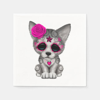Pink Day of the Dead Wolf Cub Disposable Napkin