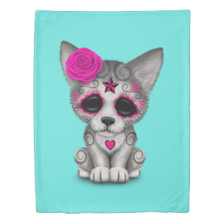 Pink Day of the Dead Wolf Cub Duvet Cover