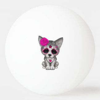 Pink Day of the Dead Wolf Cub Ping Pong Ball