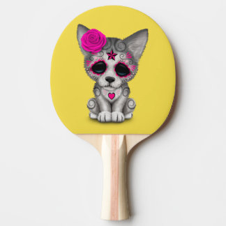 Pink Day of the Dead Wolf Cub Ping Pong Paddle