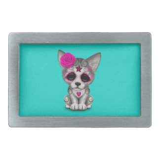 Pink Day of the Dead Wolf Cub Rectangular Belt Buckle