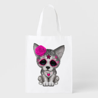 Pink Day of the Dead Wolf Cub Reusable Grocery Bag