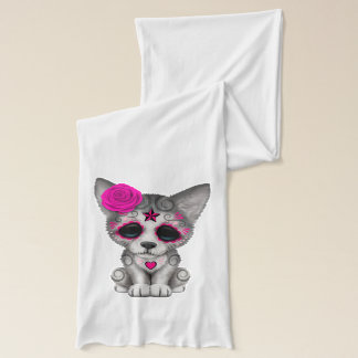 Pink Day of the Dead Wolf Cub Scarf