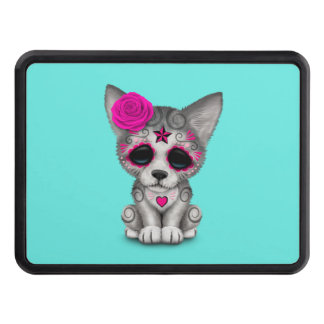 Pink Day of the Dead Wolf Cub Trailer Hitch Cover