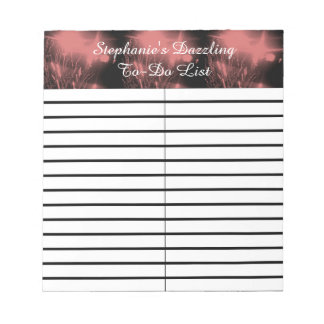 Pink Dazzle Fireworks To-Do/Shopping List Pad