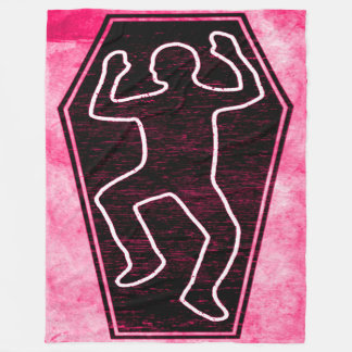 Pink Dead Man Outline Coffin Grunge Art Fleece Blanket