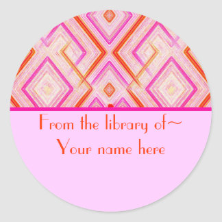 Pink Deco Bookplate Stickers