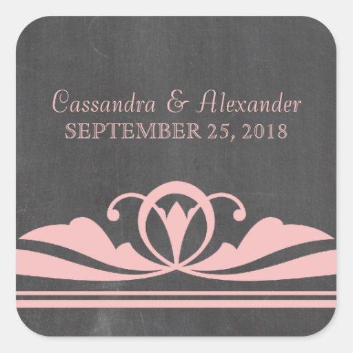 Pink Deco Chalkboard Wedding Stickers