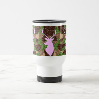 Pink deer and glitter camo travel mug