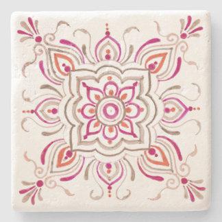 Pink delicate floral tile design coaster