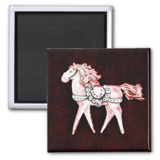Pink Delicate Horse on Maroon Gifts Square Magnet