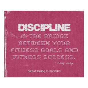 Pink Denim Fitness Quote For Self Discipline Poster