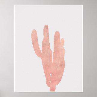 Pink Desert Cactus Watercolor Poster