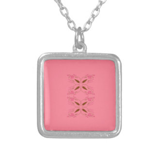 Pink design elements silver plated necklace