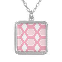 Pink design hexagons on white