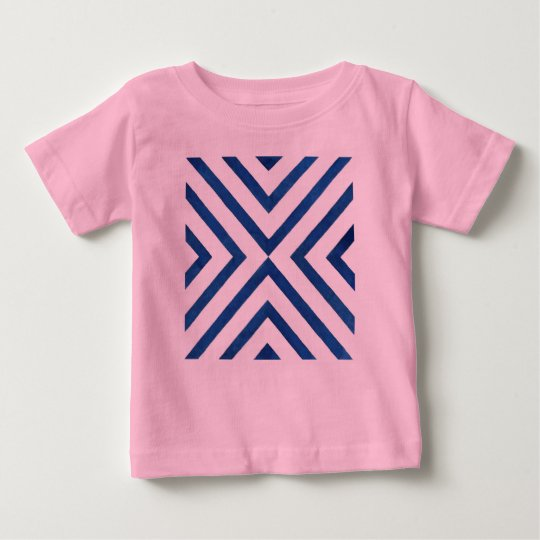 Pink designers tshirt with blue stripes