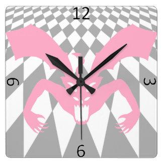Pink Devil Square Wall Clock