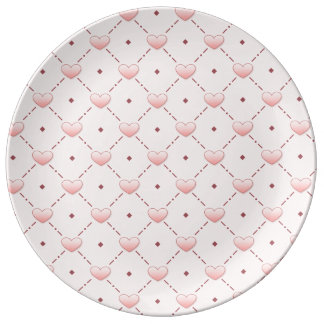 Pink diagonal pattern pink candy hearts plate