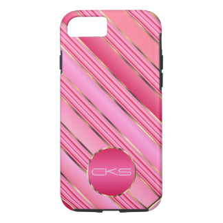 Pink Diagonal Stripes and Gold | Monogram iPhone 7 Case
