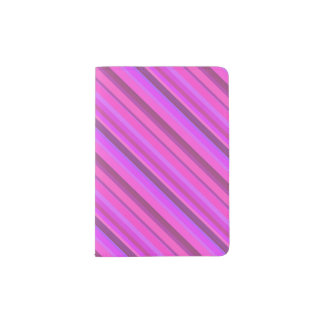 Pink diagonal stripes passport holder