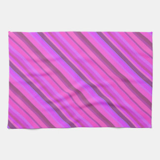Pink diagonal stripes towels