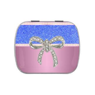 Pink Diamond Bow Blue Glitter Candy Tin