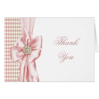 Pink Diamond Bow Pink Thank You Cards