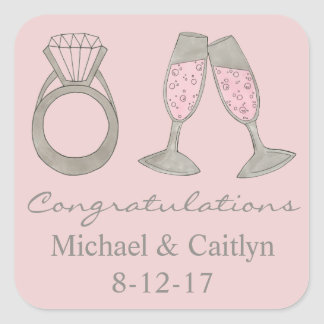 Pink Diamond Champagne Congratulations Stickers