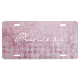 Pink Diamond Collage Background License Plate