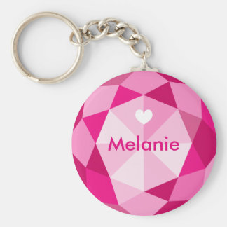 Pink diamond gem stone custom name button keychain