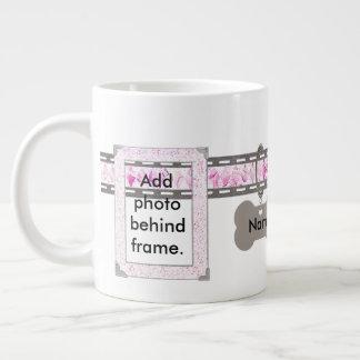 Pink Diamond Grey Dog Tag Collar Two Photo Frames Giant Coffee Mug