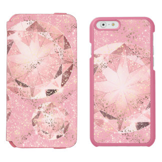 Pink Diamond on Light Pastel with Gold Sparkle Incipio Watson™ iPhone 6 Wallet Case