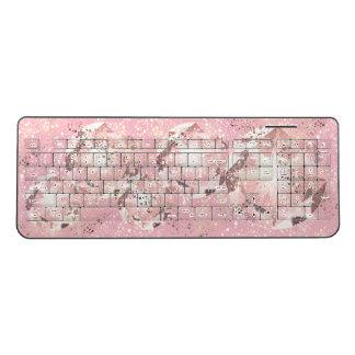 Pink Diamond on Light Pastel with Gold Sparkle Wireless Keyboard
