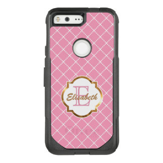 Pink Diamond Pattern, Name and Monogram OtterBox Commuter Google Pixel Case