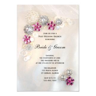 Pink Diamond Pearls Buttons Post Wedding Brunch Card