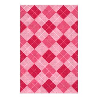 Pink Diamond Plaid Personalized Stationery