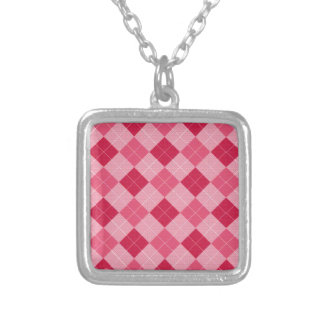 Pink Diamond Plaid Silver Plated Necklace
