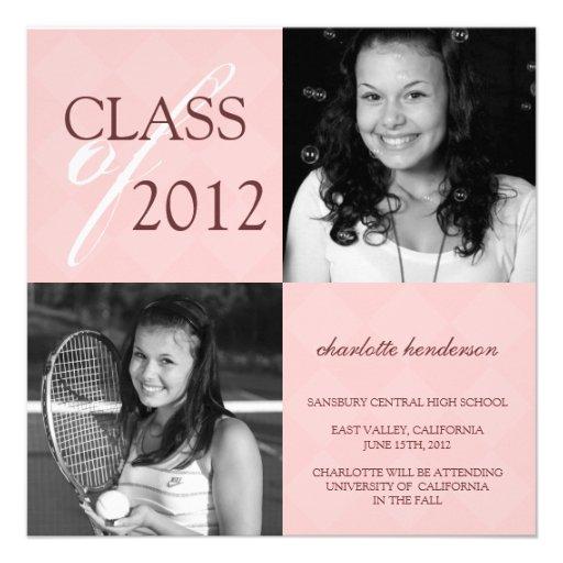 Pink diamond square photo graduation announcement