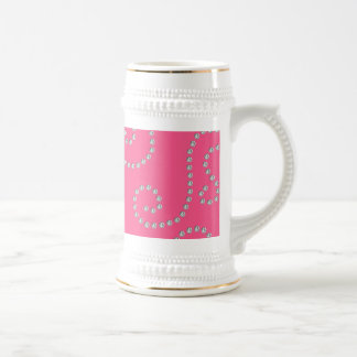 Pink diamond swirls beer stein