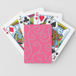 Pink diamond swirls bicycle playing cards